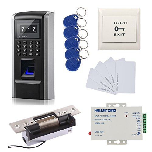 Great Deals! Bio Fingerprint + Password +ID Card Biometric Access Control & Biometric Door Lock Door Lock Entry Kit (ANSI Strike Lock) by RFID-SECURITY