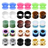 zero ear plugs - PiercingJ 15 Pairs/30 Pcs Mixed Stone Plugs Stainless Steel Screw Tunnels Thin Silicone Double Flared Flexible Tunnel Set Ear Plugs Ear Tunnels Ear Gauges Kit Ear Expander Stretcher Set