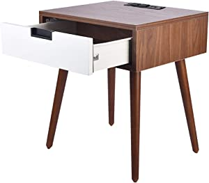 Sofa End Table with USB Charging Port, Frylr Bedside Table with Drawer Storage Design for Living Room Sofa, Light Walnut and White