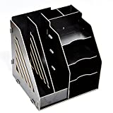 ZHXUANXUAN Bookcase File Holder Desktop Organizer File Basket Wood Office Supplies Creative Data Rack Storage Rack,B