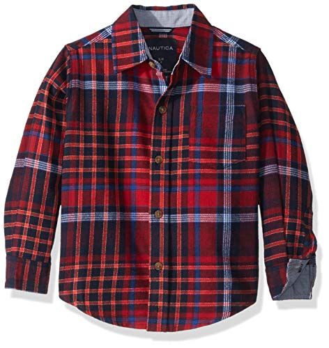Nautica Boys' Long Sleeve Flannel Woven Shirt, Moore Red Rouge, Medium (10/12) -