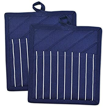 DII Professional and Commercial Grade Chef Stripe Kitchen, Potholders, Nautical Blue 2 Piece