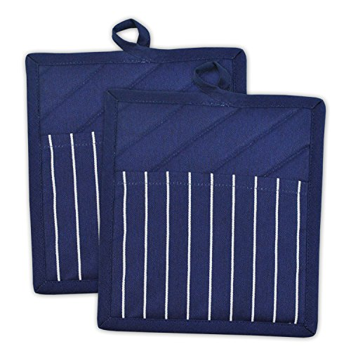 DII 100% Cotton, Machine Washable, Everyday Kitchen Basic, Chef Stripe Commercial Grade, Restaurant Quality Pot Holder Set of 2, Nautical Blue
