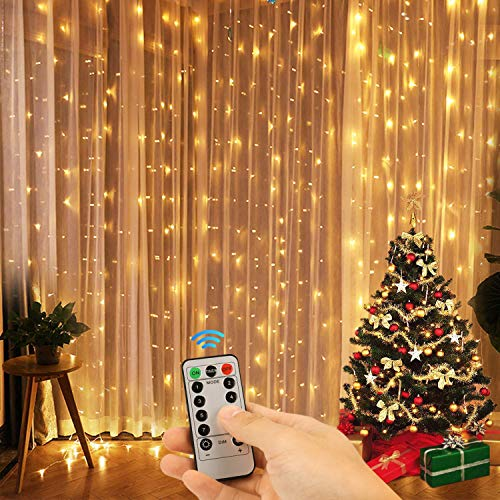Kohree Window Curtain Lights, Christmas String Light Remote Control Outdoor Indoor for Xmas, Home, Church, Balcony, Holiday, Wedding, Party Decorations, Warm White, 360 LEDs, UL Certified 3M -