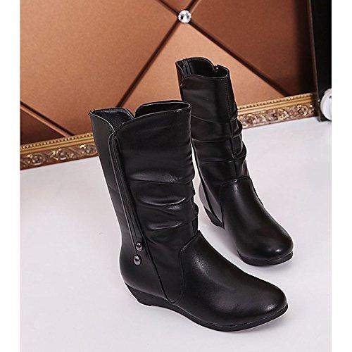 exterior Toe botas mujer invierno Zapatos combate de para de goma botas Black Negro Round de YqwvqaO