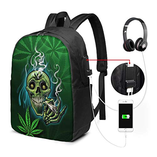 Green Weed Pot Leaf Skull Smoke College Laptop Backpack Bag with USB Charging Port Computer Business Backpacks for Women Men School Student Casual Hiking Travel Daypack (Smoke Weed Backpack)