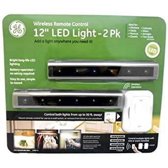 ge led light 12 wireless remote control 2pk under counter fixtures. Black Bedroom Furniture Sets. Home Design Ideas