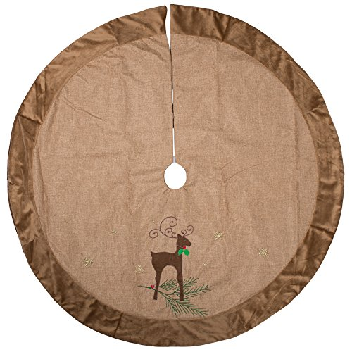 56 inch Reindeer Holly Leaves Tan Burlap Christmas Tree Skirt - Big Leaf Trees
