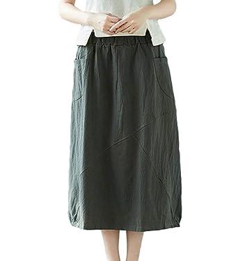 Faldas De Lino Elegantes para Las Mujeres Color Sólido Verano ...