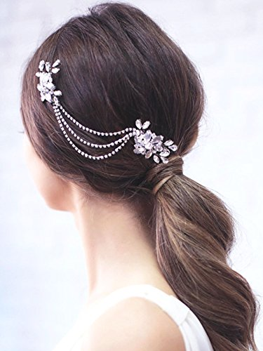 Yean Wedding Hair Comb Rhinestones Bridal Hair Side Comb Accessories Bridal Chain Headpiece Wedding for Bride and Bridesmaid (Silver)