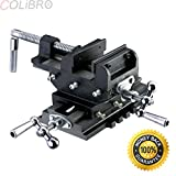 COLIBROX--4'' Cross Slide Vise Drill Press Vises Clamp 2-Way Work Bench Top Mounting Shop. Cross slide vise is designed for precision drilling of metal and woodworking.