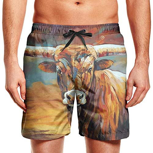 Texas Longhorns Cycling Jersey - Men's Hand Painted Texas Longhorn Classic Polyester Quick Dry Fishing Swim Shorts