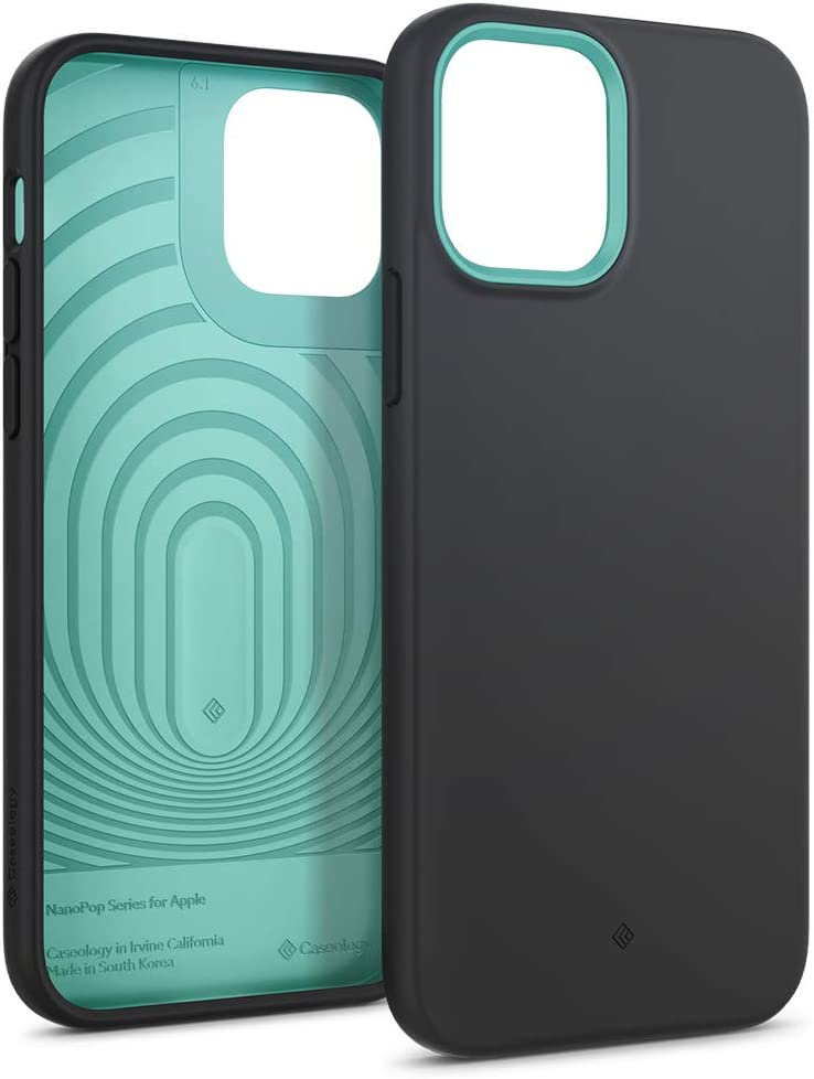Caseology Nano Pop Silicone Case Compatible with iPhone 12 Pro Case Compatible with iPhone 12 Case (2020) - Prune Charcoal