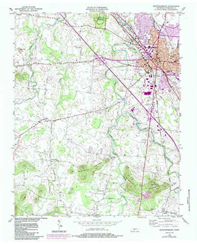 Estate Glaze (YellowMaps Murfreesboro TN topo map, 1:24000 Scale, 7.5 X 7.5 Minute, Historical, 1950, Updated 1984, 27.4 x 22 in - Polypropylene)