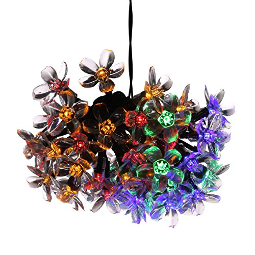 Megadream Solar 50 LED 21ft Flower Shaped Fairy String Light with 8 Flash Modes for Gifts, Christmas Tree, Outdoor, Indoor, Gardens, Lawn, Porch, Gate, Yard, Homes, Wedding, Party – Multi Colored
