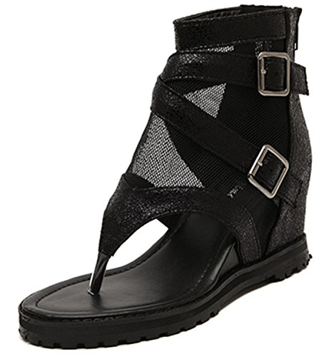 Price comparison product image NeeKer Shoes Sandals Ankle Shoes Punk Chain Rivets Gladiator Sandals Women Flip Flops Womens Shoes Heels and Wedges Sandal Black 9 6