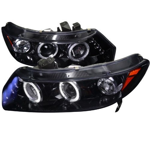 Spec-D Tuning 2LHP-CV062G-TM Honda Civic Dual Halo Led Glossy Black 2Dr Coupe Projector Headlights