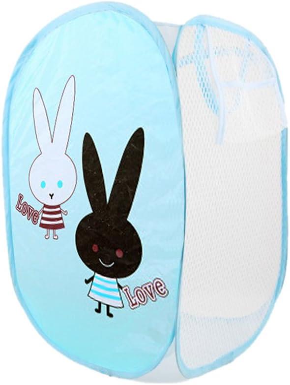 Bonamart Foldable Pop Up Mesh Washing Laundry Basket Bag Bin Hamper Toy Tidy Storage Cute Cartoon Love Rabbit