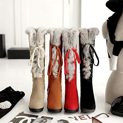 Para Zapatos Cordones Con Otoño Cuña Mujer Beige Hasta Moda 2018 Invierno Rodilla De Botas La Tacón Dandanjie x7HIqn