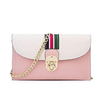 ZDD Cartera de Mano- Bolso pequeño Bolso Femenino Mini Bolso de Cadena Contraste Color Bolso Sobre Bolsa de Mensajero (Color : Pink, Tamaño : 22x13cm): ...