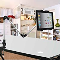iPad Stand,ECVISION Desktop Seat Bed iPad Bolt Clamp Mount Bracket Ipad Holder for 4-11 inch Ipad Tablet Wide-Sreen Mobile Phones Use in Car,Office,Home (Three-section)