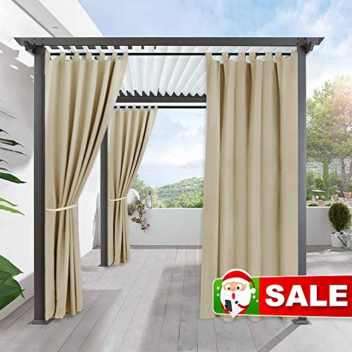 RYB HOME Outdoor Curtain for Patio - Insulated Blackout Curtain Tab Top Privacy Drape Balance Summer Heat & Winter Cold for Pergola Lawn Corridor Pavilion, 1 Piece, 52 x 108 inches Long, Cream Beige (Pergola Patio Small)