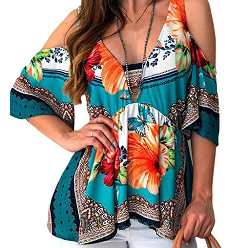 PASATO Off-Shoulder Womens Plus Size Printed Tee Short Sleeve V-Neck Folk Custom T-Shirt Casual Tops -