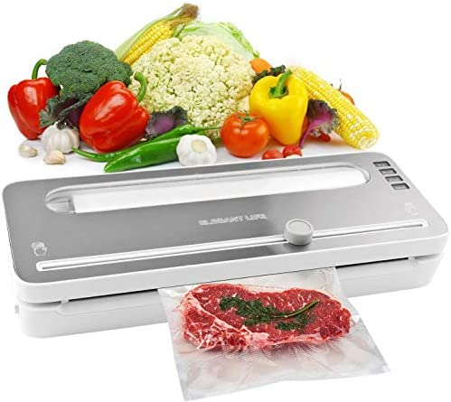 Vacuum Sealer Machine , Elegant Life Automatic Vacuum Air Sealing System with BPA Free Bag Roll for Food Save and Built-in Cutter, Dry and Moist Food Modes, Led Indicator Lights