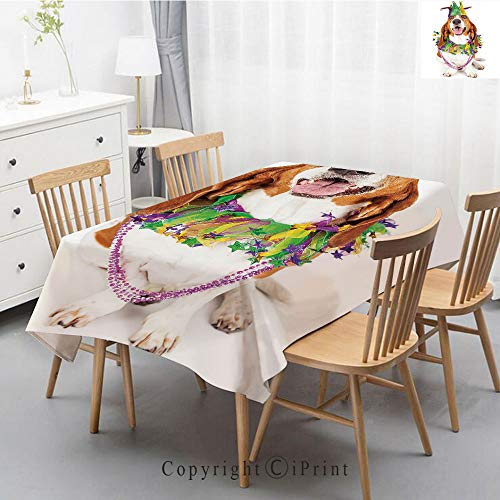 (Wedding Party,Allover Print Christmas Fabric Tablecloth,Holly Berry Xmas Print Cloth Tablecloth,47x63 Inch,Mardi Gras,Happy Smiling Basset Hound Dog Wearing a Jester Hat Neck Garland Bead Necklace Dec)