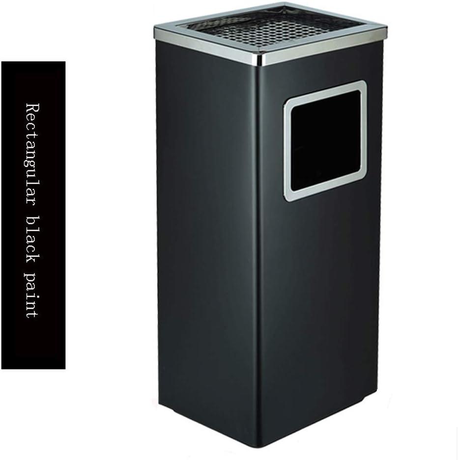 屋外ゴミ箱ホームキッチンインテリア 厚手のステンレス製のゴミ箱、屋外のファミリー向けショッピングホテルAshtray Rubbish Bin 屋外ゴミ箱ホームキッチンインテリア (Color : Black, Shape : Rectangular)