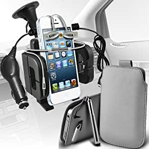 Nokia Lumia 635 premium protección PU ficha de extracción de deslizamiento del cable En caso de la cubierta de la piel de la bolsa de bolsillo, superior de la calidad en auriculares de botón estéreo de manos libres de auriculares Auriculares con micrófono Mic y botón de encendido y apagado, retráctil Sylus Pen, 12v Micro Cargador de coche e universal succión Vent Carholder Car Mount Grey por Spyrox