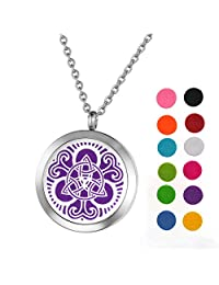 Stainless Steel Aromatherapy Essential Oil Diffuser Necklace with Celtic Knot for Women,Silver Tone