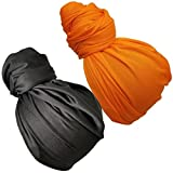 Stretch Head Wrap - Long Black Head Wrap Turban Hair Scarf Tie 2pcs set or 1Pcs (1sd blackorange)