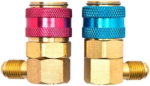 Biltek NPTC-QC15HL-1Q Adapter R134a A//C Manifold Gauge Conversion Kit High Low Angle Quick Acme