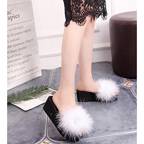 Donna Di Sex Scarpe Pattini Calzamaglia Sulle Morbida bianco Pantofole Donne Delle Pelliccia 37 Dell'alto Tallone Molle Inverno Calde wZtrZqH