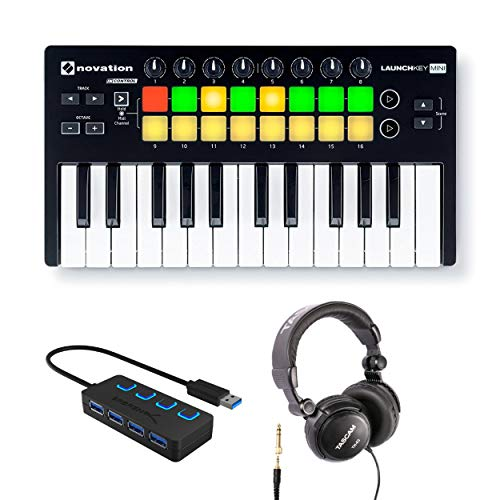 Novation Launchkey Mini 25-Note USB Keyboard Controller MK2 with Headphones and 4-Port 3.0 USB HUB