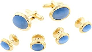 product image for JJ Weston Mid Blue Cats Eye Tuxedo Cufflinks and Shirt Studs. Made in the USA.