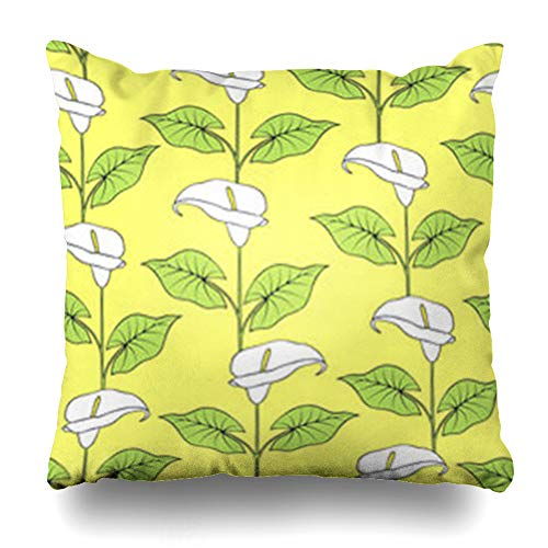 Calla Bordered Lilies (NOWCustom Throw Pillow Cover Pattern Calla Flowers Floral Graphic Nature Lily Leaves Tropical Zippered Pillowcase Square Size 20 x 20 Inches Home Decor Cushion Case)