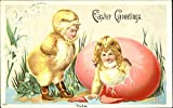 Two Children Dreesed in Chick Costumes With Children Original Vintage Postcard