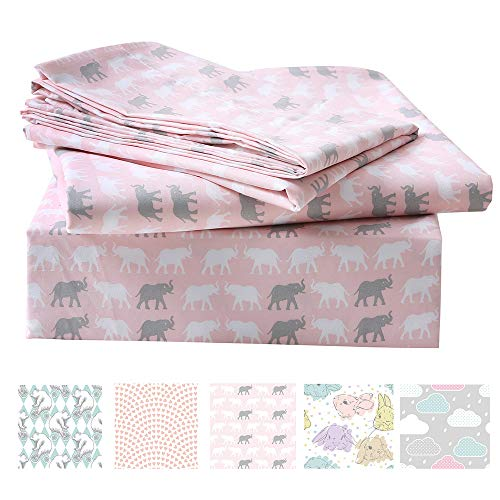 (LanJia Bedding Sets Scribble Stars Soft Brushed Microfiber Printed Full Bed Sheet Sets for Kids Boys Girls- 1 Flat Sheet, 1 Fitted Sheet, 2 Pillowcase(Elephat, Twin))