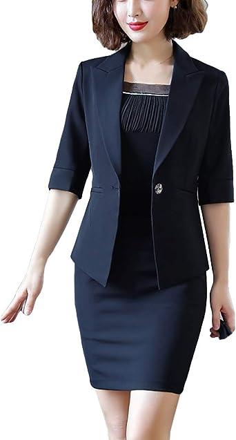 Domple Womens Slim Long Sleeve Work Office Blazer 2 Pieces Mini Dress Suit Set Pink XL