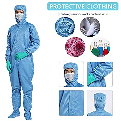 Rmeioel Non-Disposable Protective Gowns with Long Sleeves Isolation Gowns with Hood Full Body Isolation Suit Safety Work Gowns Clothing: Home & Kitchen