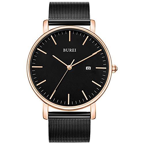 BUREI Men's Fashion Minimalist Wrist Watch Analog Black Date with Black Stainless Steel Mesh Band (Black Rose Gold) - Rose Stainless Steel Wrist Watch