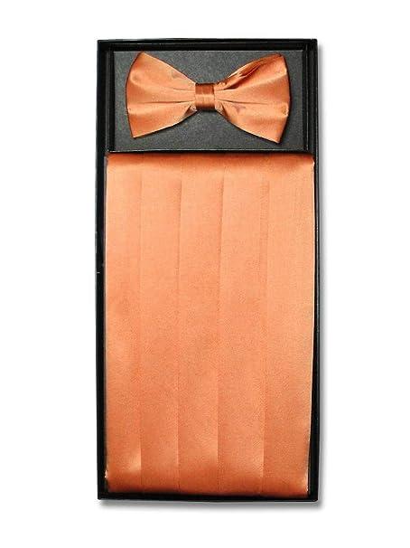 e7219483fc30 Amazon.com: SILK Cumberbund & BowTie PEACH ORANGE Men's Cummerbund & Bow  Tie Set: Clothing
