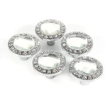 10pcs 30mm Clear Crystal Diamond Door Knobs Wardrobe