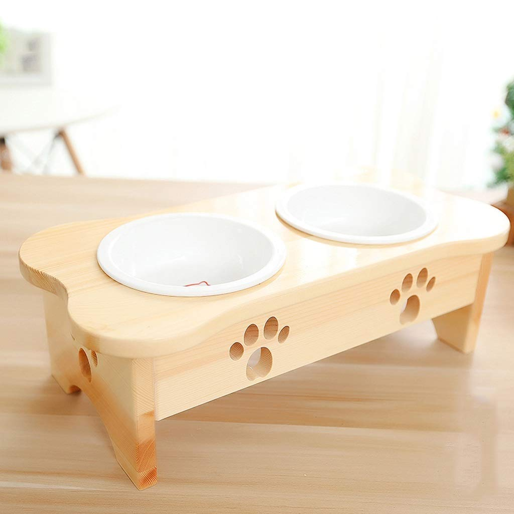 Luxury Pet Bowl, Dog Bowl Cat Bowl Creative Solid Wood Dining Table Ceramic Tilt Double Bowl Cat Food Dog Food Bowl Primary color Pet Supplies Exquisite Cute bluee Cat Garfield Shorthair Cat