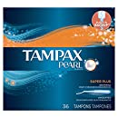 Tampax Pearl Plastic, Super Plus Absorbency, Unscented Tampons, 36 Count (Pack of 2)