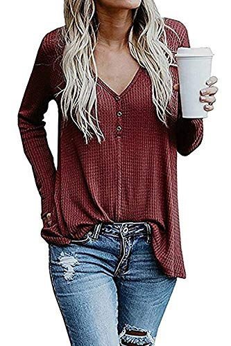 Womens V Neck Henley Tops Waffle Knit Tunic Blouse Loose Fit Long Sleeve Casual Shirts Pullover Sweaters Wine Red