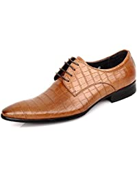Men's Leather Classic Plaid Oxford Lace up Shoes Formal Dress Shoes