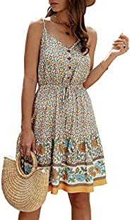 PRETTYGARDEN Women's Floral V Neck Spaghetti Strap Button Down Sundress Swing Ruffle Summer Mini Short Dress